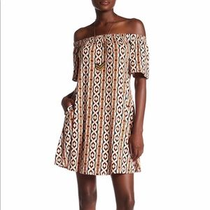Abound Off-the-Shoulder Ikat Print Dress